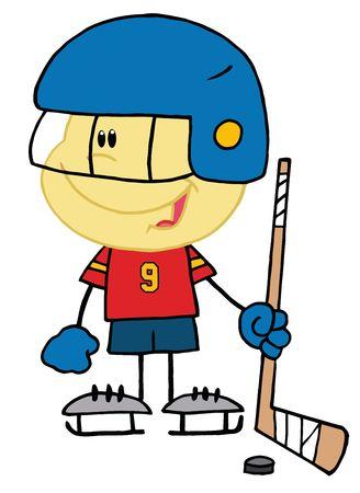 Caucasian Boy Playing A Hockey Goalie Vector