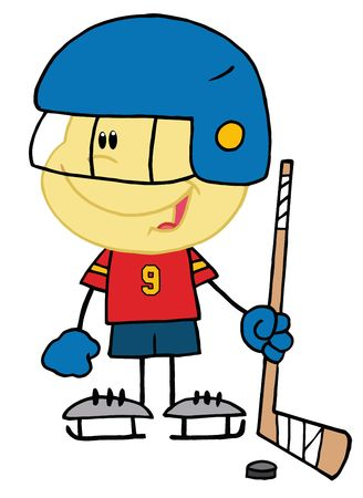 hockey stick: Caucasian Boy Playing A Hockey Goalie Illustration