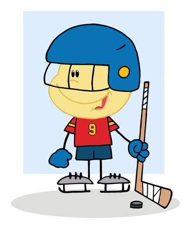 ice hockey player:  Happy Caucasian Boy Playing A Hockey Goalie