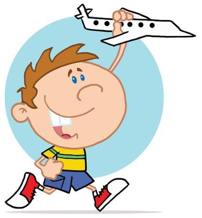 Gelukkig jongetje spelen met vlieg tuig