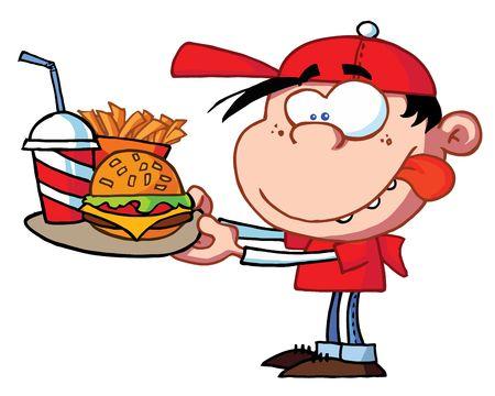 eating fast food: Chico comida Fast Food