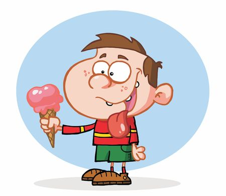 아이스크림을 먹는 어린 소년 일러스트