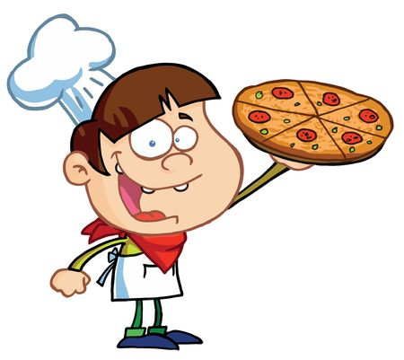 toons: Boy Chef Showing A Delicious Pizza