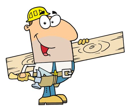 builder logo: Friendly Caucasian Construction Worker Carrying A Wood Board