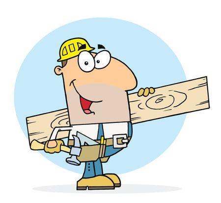 carpenter tools: Caucasian Worker Man A Wood Plank Illustration