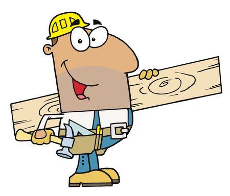 cartoons: Friendly Hispanic Construction Worker Carrying A Wood Board Illustration