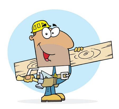Hispanic Worker Man A Wood Plank Stock Vector - 6906115