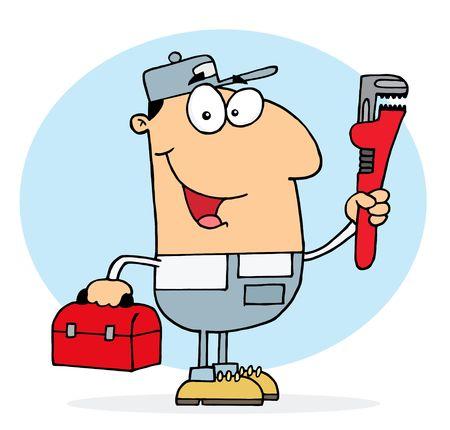 repair man: Cauc�sica hombre de Plomero, con una llave de red y la caja de herramientas