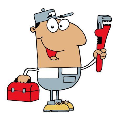 carrying box: Amable hombre de Plomero de hispanos con una llave y la caja de herramientas