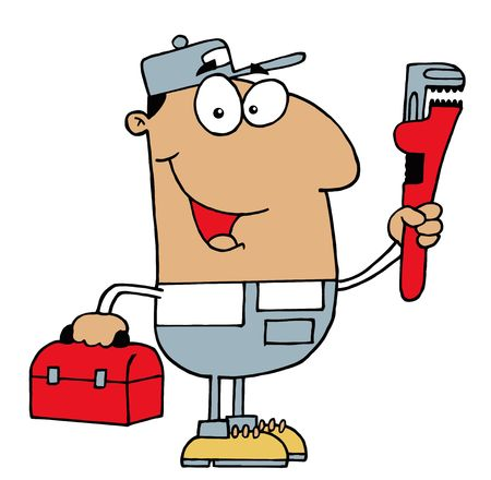 Friendly Hispanic Plumber Man Carrying A Wrench And Tool Box Ilustração