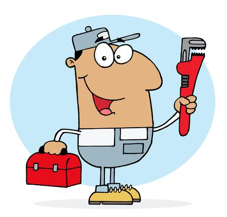 Hispanic Plumber Man Carrying A Red Wrench And Tool Box Stock Vector - 6906083