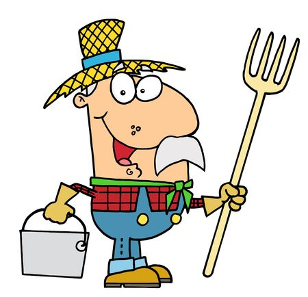 Feliz Farmer caucásico de hombre, con un Rake Y Pail Ilustración de vector