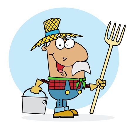 occupation: Male Hispanic Farmer Carrying A Rake And Pail Illustration