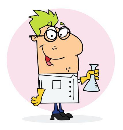Blanke wetenschapper man draag een fles
