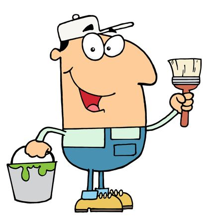 Male Caucasian House Painter Holding A Pail And Paintbrush Vector