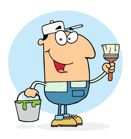 Caucasian House Painter Man Holding A Pail And Paintbrush Vector