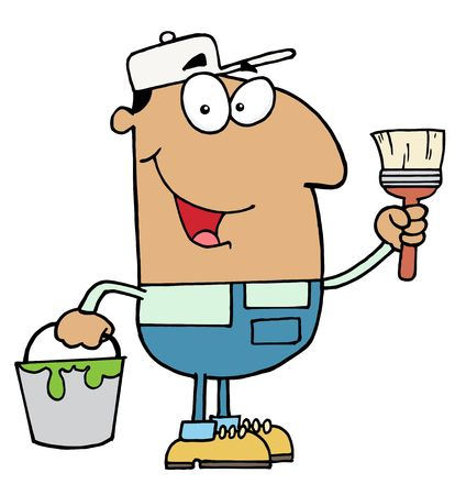 Male Hispanic House Painter Holding A Pail And Paintbrush Vector
