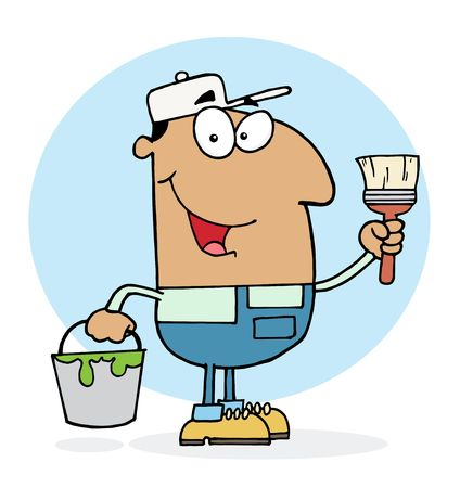 Hispanic House Painter Man Holding A Pail And Paintbrush Vector