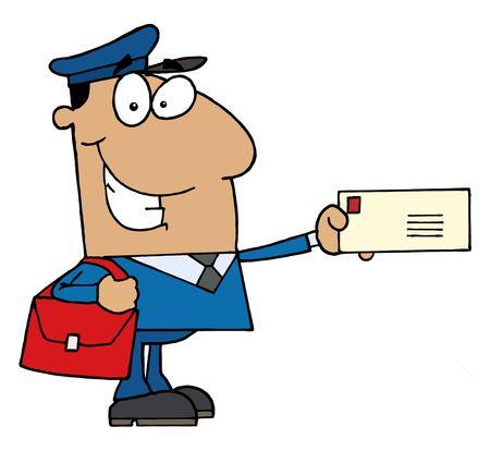 mail man: Amable hombre de mail de hispanos holding una carta Vectores
