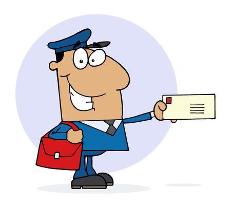 mail man: Hispanos Man de correo postal trabajadores holding una carta