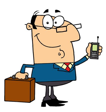 Friendly Caucasian Businessman Holding A Briefcase And Cell Phone