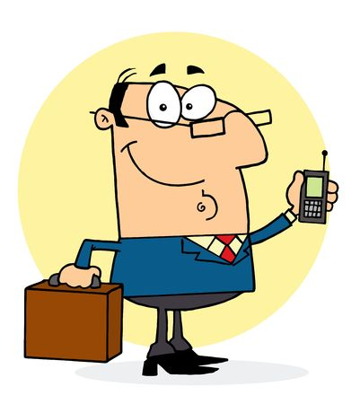 business cartoons: Chatty Caucasian Businessman Holding A Briefcase And Cell Phone