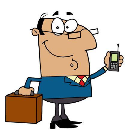 man on cell phone: Amistoso empresario de hispanos, holding de un malet�n y tel�fonos