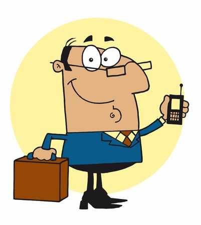 Chatty Hispanic Businessman Holding A Briefcase And Cell Phone Illustration