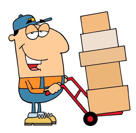 renders: Friendly Caucasian Delivery Man Using A Dolly To Move Boxes Illustration