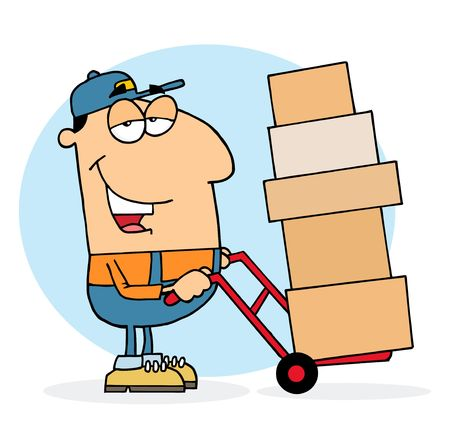 dolly: Caucasian Delivery Guy Using A Dolly To Move Boxes