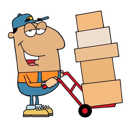 Amical Hispanique Delivery Man Utilisation A Dolly Pour déplacer des boîtes