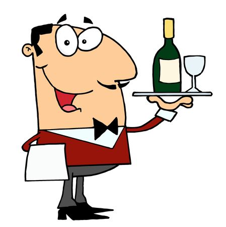 stock clipart icons: Friendly Caucasian Male Butler Serving Wine Illustration