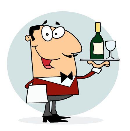 Caucasian Male Waiter Serving Wine Illustration