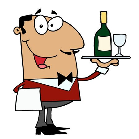 ispanico: Amichevole Butler Male latino-americana, servire il vino  Vettoriali