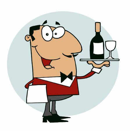 Hispanic Male Waiter Serving Wine Stock Vector - 6905730