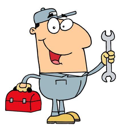 handy man: Felice meccanico del giovane uomo con un tool box e chiave