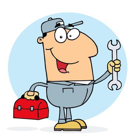 Happy Caucasian Mechanic Guy With A Tool Box And Wrench Illusztráció