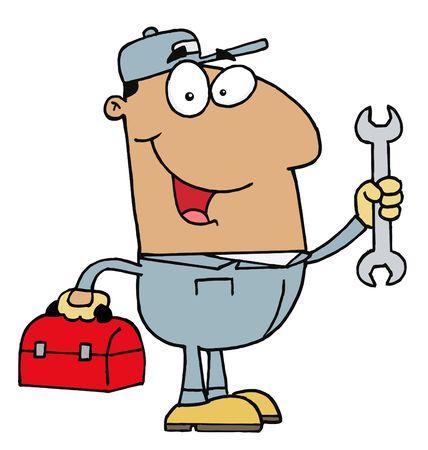 handy man: Felice Hispanic Mechanic Man con uno strumento di dialogo e chiave  Vettoriali