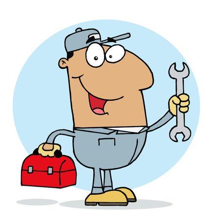handy man: Felice Hispanic meccanico Guy con un tool box e chiave