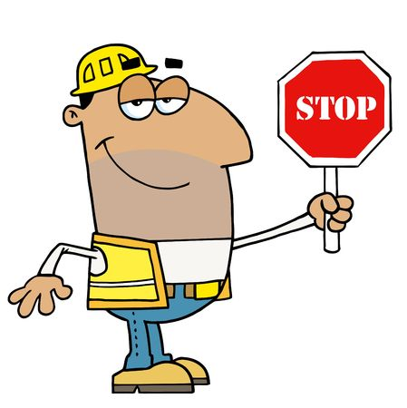 stock clip art icon: Hispanic Traffic Director Man Holding A Stop Sign
