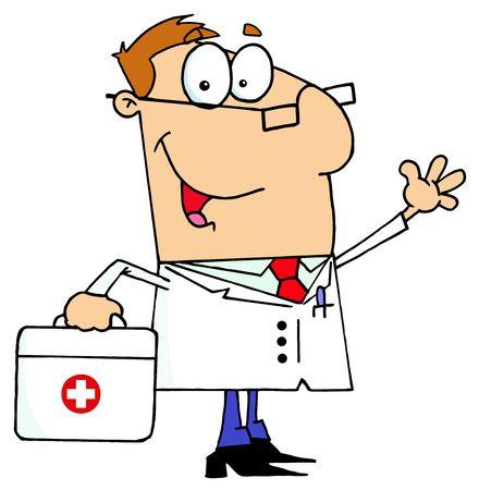 medical drawing: Hombre de doctor con su bolsa de primeros auxilios