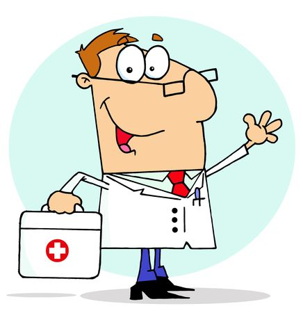 Male Doctor Carrying His First Aid Bag Vector