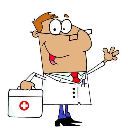 medico caricatura: Doctor de hispanos con su bolsa de primeros auxilios