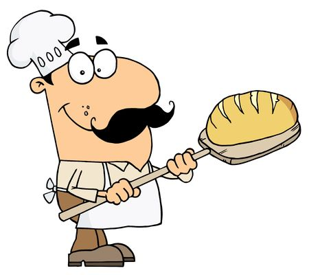 bakers:  Caucasian Cartoon Bread Maker Man Illustration