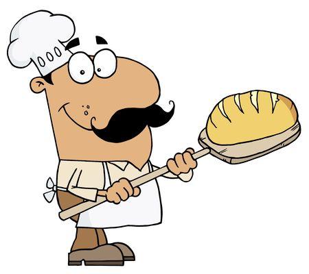Hispanic Cartoon Bread Maker Man Vector