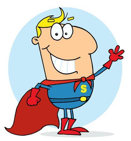 Cartoon Hero Waving Man,background Vector Illustration