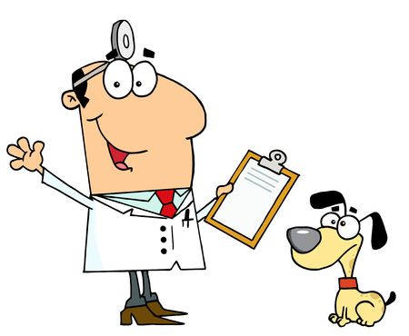 veterinarians:  Caucasian Cartoon Dog Veterinarian Man