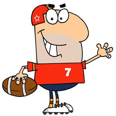 athlete cartoon: Caucasian Cartoon Football Waving Man