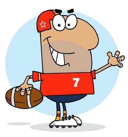 athlete cartoon: Hispanic Cartoon Football Man