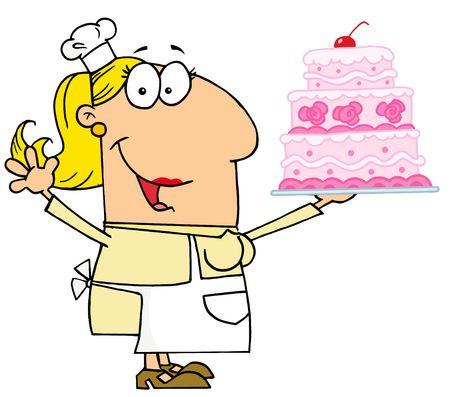 stock clipart icons: Caucasian Cartoon Cake Baker Woman
